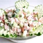 Салат з грибами і шинкою