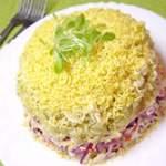 Салат Мімоза з сайра покроковий рецепт з фото